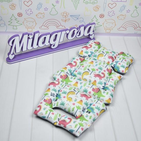 Премиум 3D матрасик-вкладыш универсальный Лисички на сером + принт 3D-сетка - Milagrosa Premium