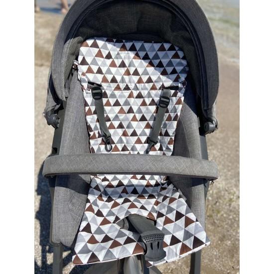 Матрасик-вкладыш хлопковый тонкий Зиг-заг/треугольники