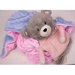 Плюшевый детский плед Minky Stripes Серо голубой с розовым