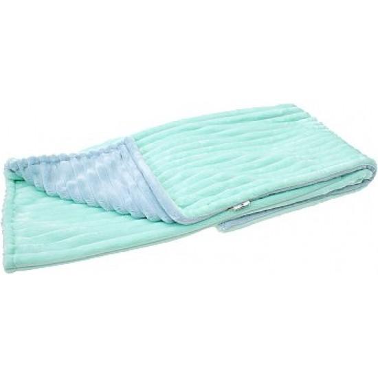 Плюшевый детский плед Minky Stripes Серо голубой с мятным