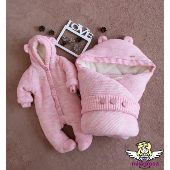 Зимний набор на выписку (конверт+комбинезон) Мишутка, розовый, 62 р
