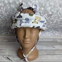"""Детский защитный противоударный мягкий шлем от ударов  """"Лисички на сером"""""""